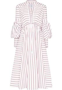 Rosie Assoulin Vestido Midi Listrado De Algodão - Branco
