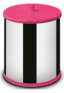 Lixeira Martinazzo Inox 6.3 Litros Tampa Rosa