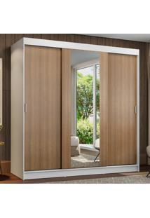 Guarda-Roupa Casal Madesa Reno 3 Portas De Correr Com Espelho Branco - Branco - Dafiti