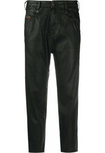 Diesel Calça Jeans Cropped Cintura Alta Com Efeito Encerado - Preto
