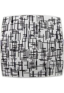 Plafon Attena Sobrepor Quadrado Textura 38 Cm Em Vidro - Preto/Branco
