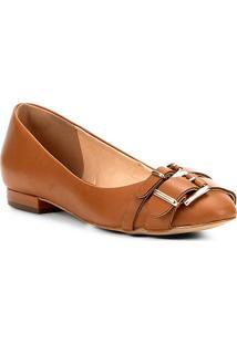 Sapatilha Couro Shoestock Fivelas Feminina - Feminino-Caramelo