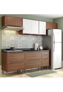 Cozinha Compacta Calábria 8 Portas Com Tampo E Pés Noguera/Branco - Multimóveis