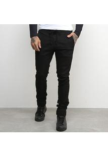 Calça Jeans Jogger Kvra Brand Linha Premium Masculina - Masculino-Preto