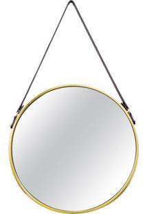 Espelho Arredondado- Espelhado & Dourado- 66,5Xø40,5Mart