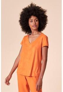T-Shirt Tvz Suede Decote V Feminina - Feminino-Laranja
