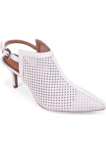 Sapato Salto Medio Gaspea Vazada Off White