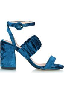 Luiza Barcelos Sandália Salto Sino De Veludo - Azul