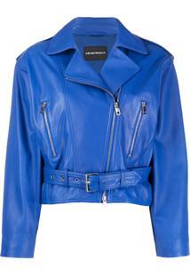 Emporio Armani Jaqueta Biker Com Zíper - Azul