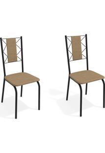 Conjunto Com 2 Cadeiras De Cozinha Lisboa Preto E Capuccino