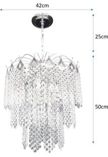 Lustre Pendente De Cristal Acrílico Alto Brilho 42X75 Lina Design Ac09
