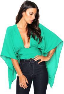 Blusa Cropped Colcci Transpassada Verde
