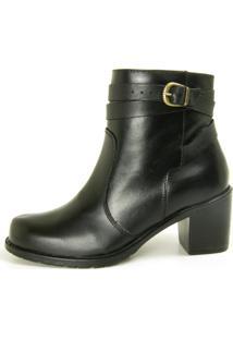 Bota Cano Curto Over Boots Isabela Couro Preto