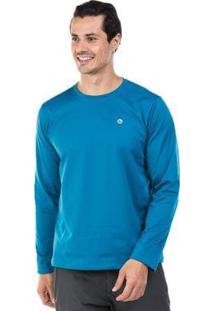 Camiseta Térmica Para Frio Manga Longa Com Proteção Solar Extreme Uv - Masculino-Azul Royal