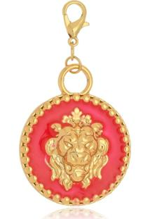 Pingente Le Diamond Medalha De Leáo Rosa - Tricae