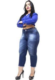Calça Jeans Plus Size Credencial Cropped Feminina - Feminino-Azul