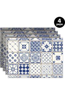 Kit 4Pçs Jogo Americano Mdecor Coqueiros 40X28Cm Azul
