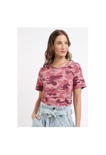 Blusa Feminina Estampada Camuflada Manga Curta Decote Redondo Rosa