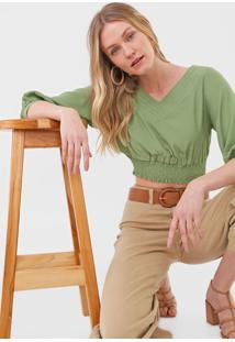 Blusa Cropped Maria Filã³ Franzida Verde - Verde - Feminino - Viscose - Dafiti