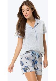 Pijama Cinza Claro Estampado Com Strass