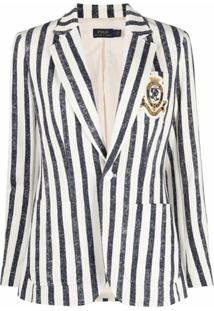 Polo Ralph Lauren Blazer Com Listras E Abotoamento Simples - Azul