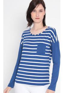 Blusa Listrada Com Bolso- Branca & Azul Escuro- Malwmalwee