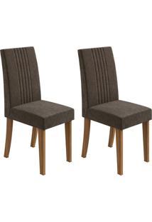 Conjunto De Cadeiras De Jantar 2 Rock Veludo Rovere E Marrom Escuro