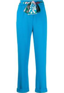 Emilio Pucci Calça Cropped Com Cinto - Azul
