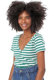Blusa Cantão Listrada Branca/Verde
