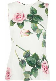 Dolce & Gabbana Blusa Floral Sem Mangas - Ha96C Rose Rosa Fdo.Panna