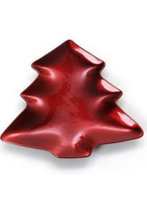 Sousplat Mesa De Natal Prato Pinheiro Vermelho 19 X 21 Cm Vermelho