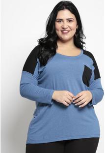 Blusa Lisa Com Bolso- Azul & Pretamelinde