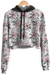 Blusa Cropped Moletom Feminina Over Fame Floral E Folhas - Kanui