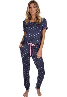 Pijama Com Manga Curta Poá Colours Azul Marinho