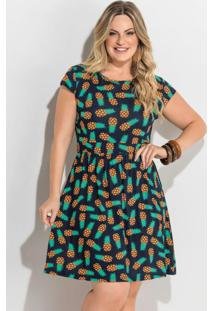 Vestido Evasê Estampa Abacaxi Plus Size Quintess