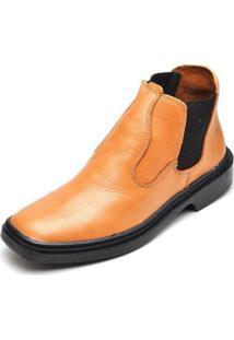 Bota Couro Top Franca Shoes Masculino - Masculino-Caramelo