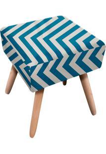 Puff Ibiza Quadrado Estampado Zig Zag Azul Tiffany D90 - D'Rossi