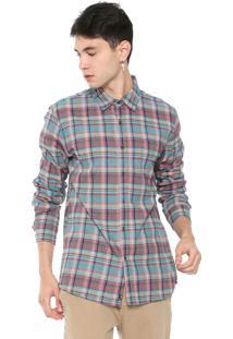 Camisa ...Lost Reta Xadrez Verde/Vermelha