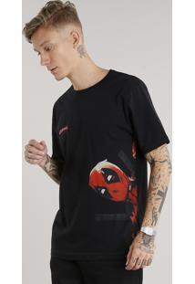 Camiseta Masculina Deadpool Manga Curta Gola Redonda Preta
