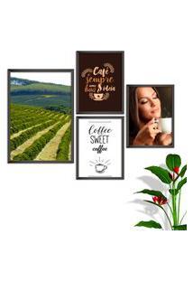 Kit Conjunto 4 Quadro Oppen House S Frases Com Café Coffe Sweet Lojas Cafeteria Xícaras Gráos Moldura Preta Decorativo Interiores Sem Vidro