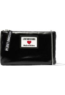 Love Moschino Faux-Leather Logo-Patch Crossbody Bag - Preto