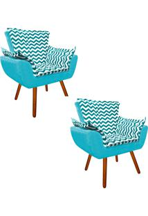 Kit 02 Poltrona Decorativa Opala Suede Composê Estampado Zig Zag Verde Tiffany D78 E Suede Azul Tiffany - D'Rossi