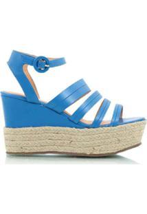 Luiza Barcelos Sandália Flatform De Couro - Azul