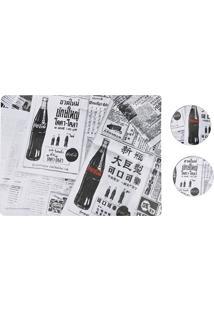 Jogo Americano E Porta Copos Coca-Cola Newpaper Branco E Preto