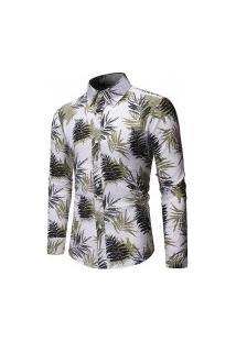 Camisa Masculina Estampa Floral - Branca E Verde