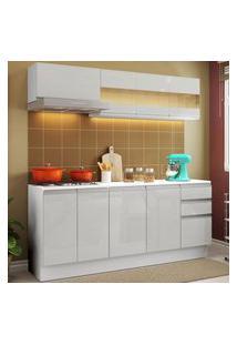 Cozinha Compacta 100% Mdf Madesa Smart 180 Cm Modulada Com Balcáo E Tampo - Frentes Branco Brilho Branco