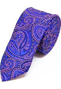 Gravata Concetto Seda Slim Azul Royal