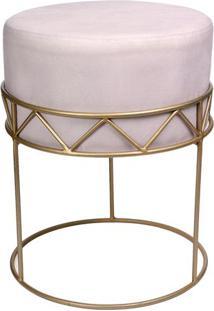 Puff De Ferro- Rosa & Dourado- 49Xã˜39Cm- Decor Gdecor Glass