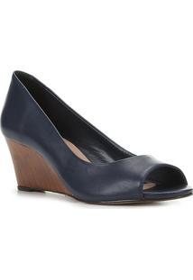 Peep Toe Couro Shoestock Anabela Salto Médio - Feminino-Marinho