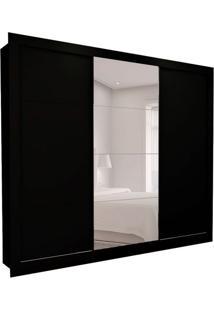 Guarda-Roupa Casal Com 1 Espelho Helena 3 Pt 8 Gv Preto 277 Cm